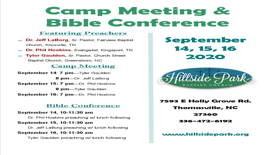 Camp Meeting Bible Conference Flyer